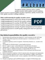 Quality Executive Job Description