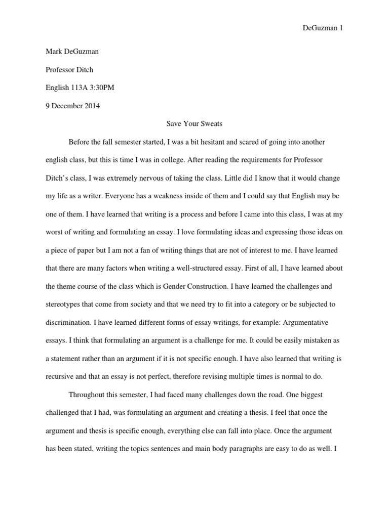 Reflection Essay About Writing Class English Class Reflection Paper  Course Reflection Essay