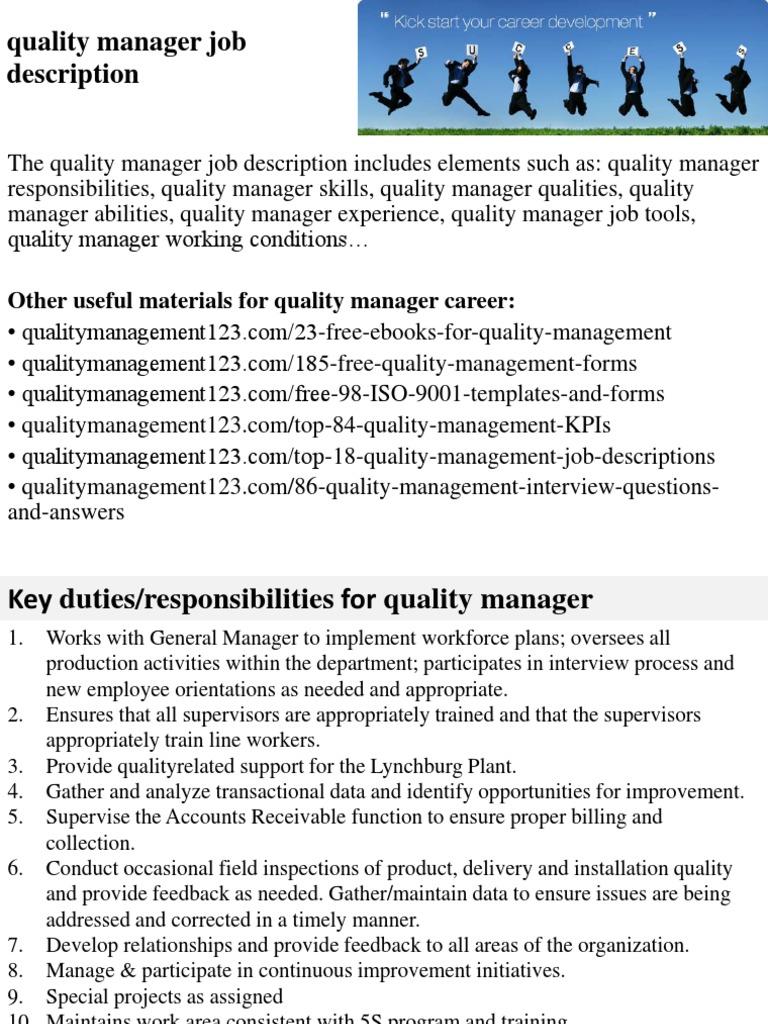 quality manager job description employment quality business