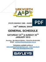 Warkworth A & P General Schedule 2015