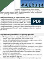 Quality Specialist Job Description