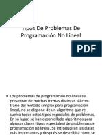 Tipos de Problemas de Programación No Lineal