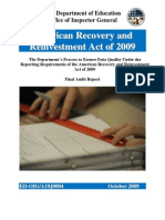 ED-OIG The Department's Process to Ensure Data Quality Under the Reporting Requirements of the American Recovery and Reinvestment Act of 2009 - a19j0004