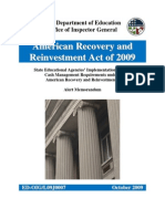 ED-OIG State Educational Agencies' Implementation of Federal Cash Management Requirements under the American Recovery and Reinvestment Act - l09j0007
