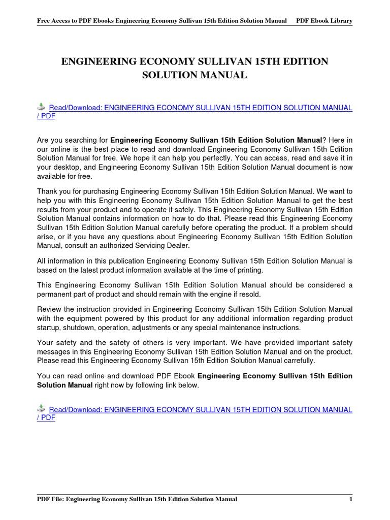 engineering economy sullivan 15th edition solution manual rh pt scribd com engineering economy sullivan solution manual engineering economy (13th edition) g sullivan solution manual