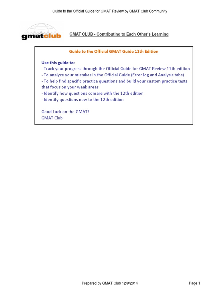GMAT Club Guide to the Official Guide for GMAT Review 11th