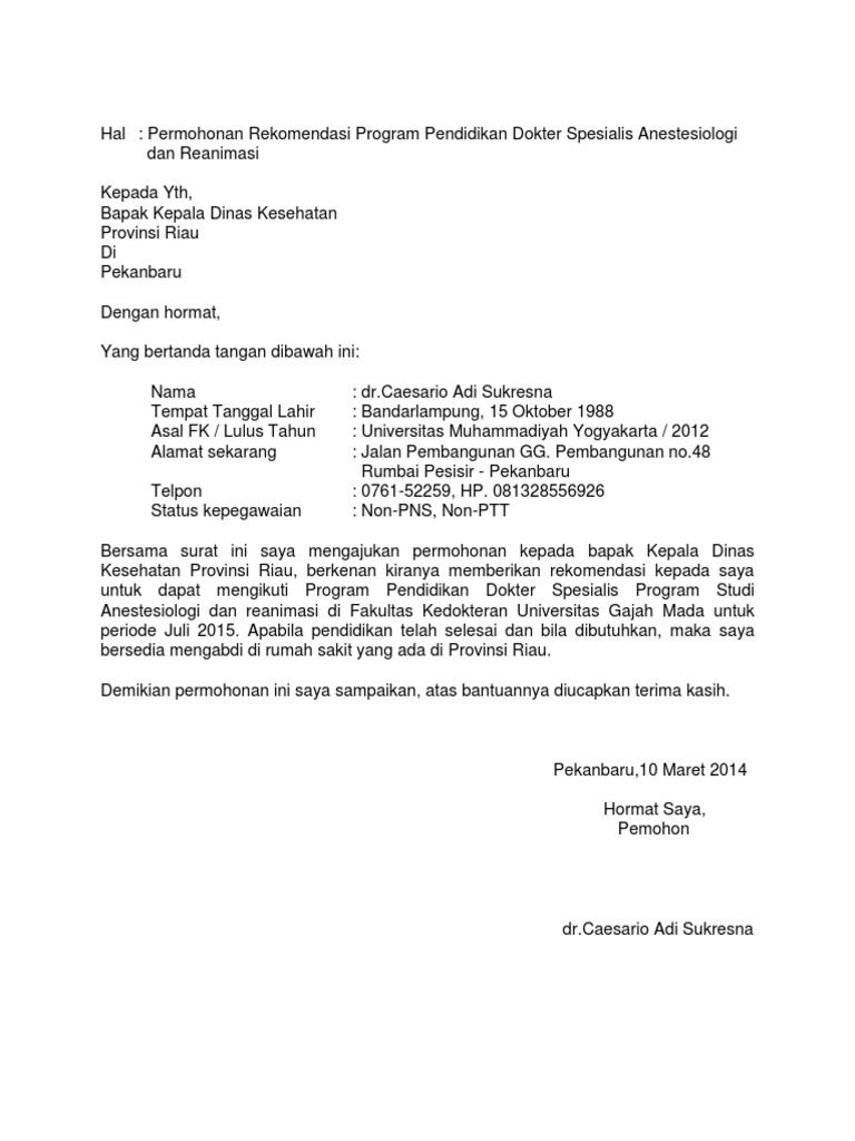17+ Contoh Surat Lamaran Di Dinas Kesehatan - Kumpulan ...
