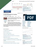 27 Must-Read Books for Investors - GuruFocus.com