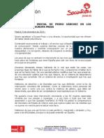 Intervención de Pedro Sánchez en el desayuno de Europa Press, 09/12/2014 (PDF)