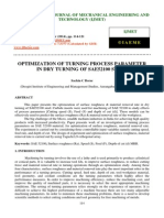 Optimization of Turning Process Parameter in Dry Turning of Sae52100 Steel