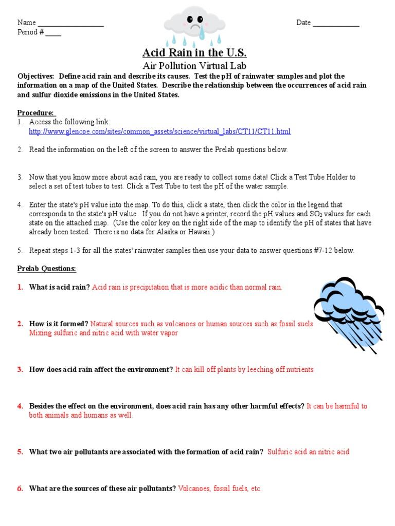 worksheet Acid Rain Worksheet acid rain virtual lab worksheet air pollution