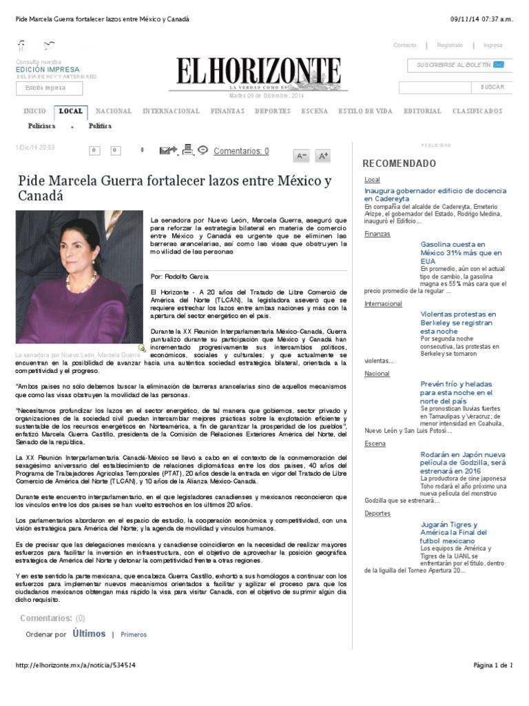 01-12-14 Pide Marcela Guerra Fortalecer Lazos Entre México y Canadá