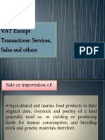VAT Exempt Transactions and Services