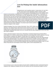 The Coming Out Facts On Picking Out Inside Informations For Watches Overview