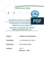 Tecnologias de Información Al Servicio de La Logística Ciclo de La Gestión de Pedidos Resinplast Sa