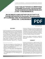 Amplitud Nicho y Selectividad Alimentaria
