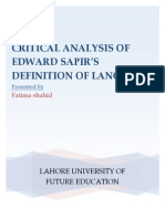 Critical Analysis on Definition of Language by Edward Sapir