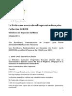 La Littérature Marocaine d'Expression Française