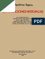 Apolinar Tejera - Rectificaciones Históricas