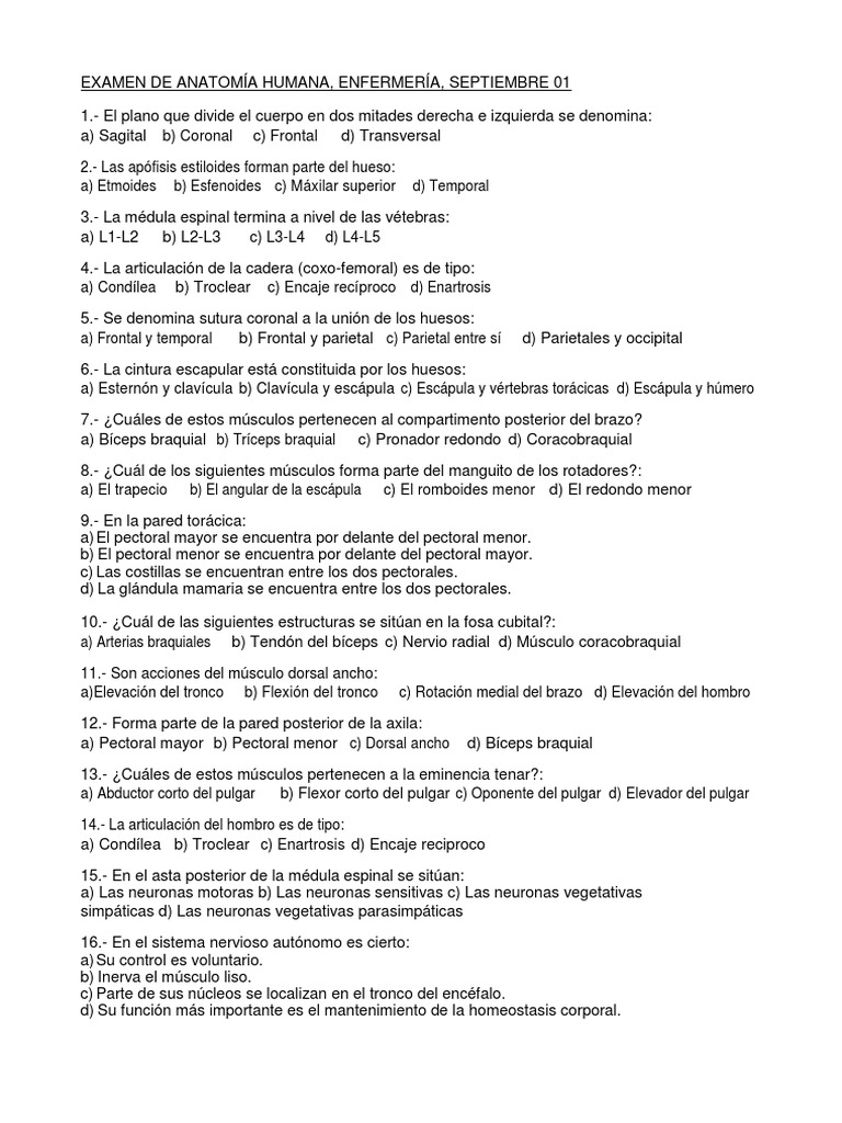Examen Anatomia