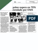 El Comercio. Ruido en Iquitos Supera en 70% Limite Recomendado Por OMS