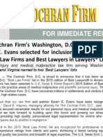 The Cochran Firm's Washington, D.C. office and partner Karen E. Evans selected for inclusion in the 2015 Edition of Best Law Firms and Best Lawyers in America® Lists
