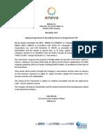 Signing of Agreement of Sale ENEVA interest in Energia Pec?m TPP