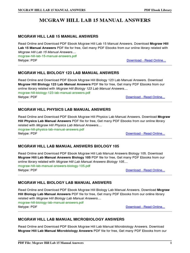 mcgraw hill lab 15 manual answers rh scribd com McGraw-Hill Biology 7th Edition McGraw-Hill Biology Animations