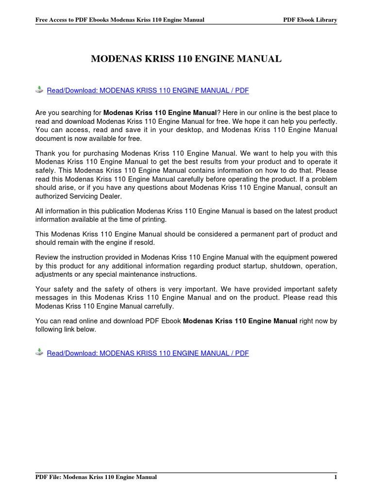 modenas kriss 110 engine manual rh scribd com