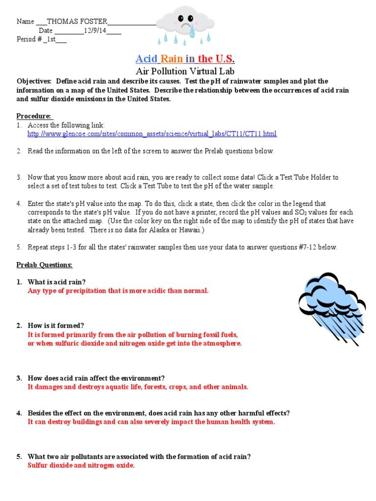 Acid Rain Virtual Lab Worksheet Air Pollution Global Environmental Issues