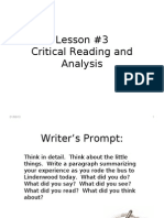 #3 Critical Reading and Analysis