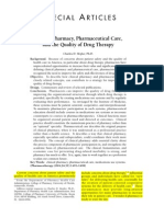 Clinical Pharmacy Pharmaceutical Care and the Quality of Drug Therapy