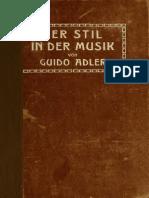 Adler Guido Der Stil in Der Musik 1911