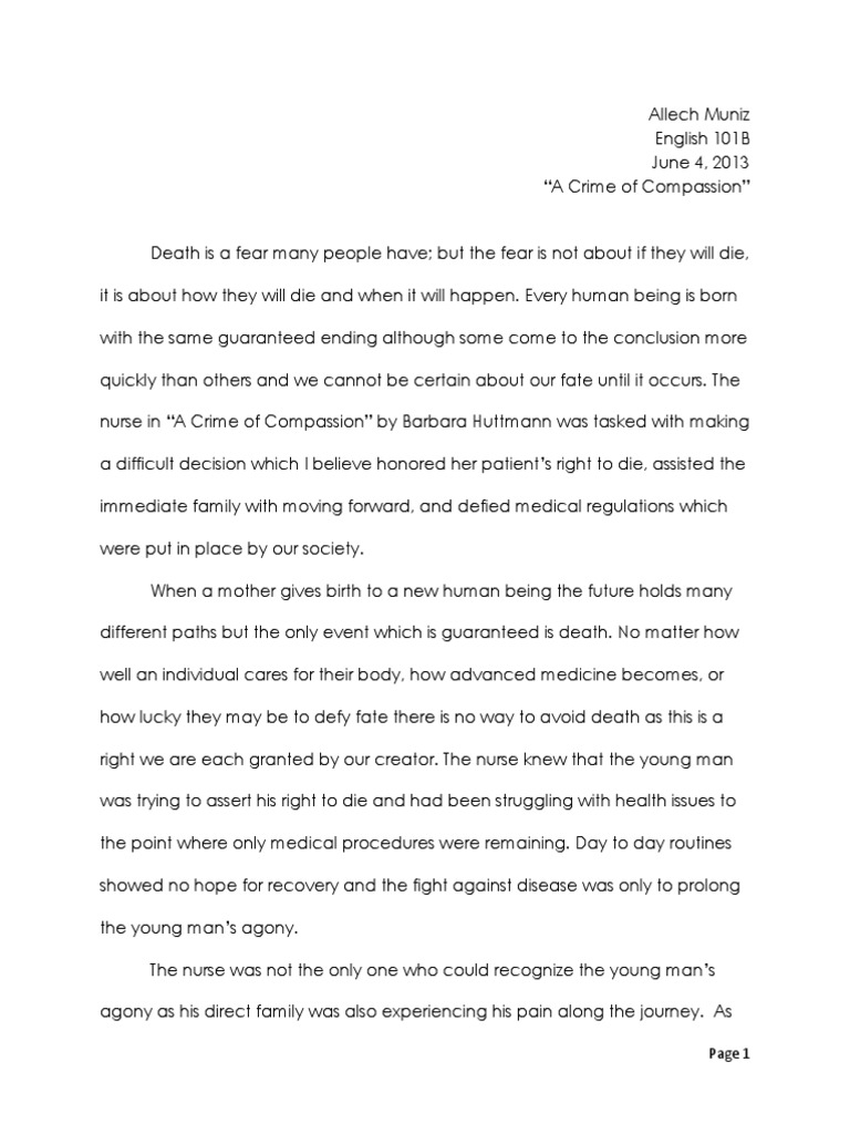 a crime of compassion essay death nursing