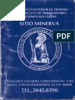 Reglamento Interior de Trabajo del Sindicato de Trabajadores Automovilistas del Sitio Minerva