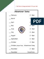 011 adventurer club meeting calendar