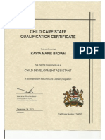 child care certificate