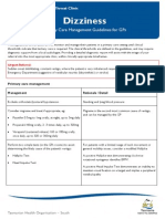 Primary Care Management Guidelines for GPs Dizziness
