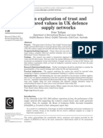 An exploration of trust and shared values in UK defence supply networks