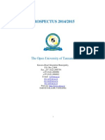 Open University of Tanzania Prospectus 2014 2015