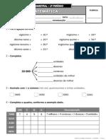 Ficha de Avaliação Trimestral - 1º Período - 3º ano MAT_I