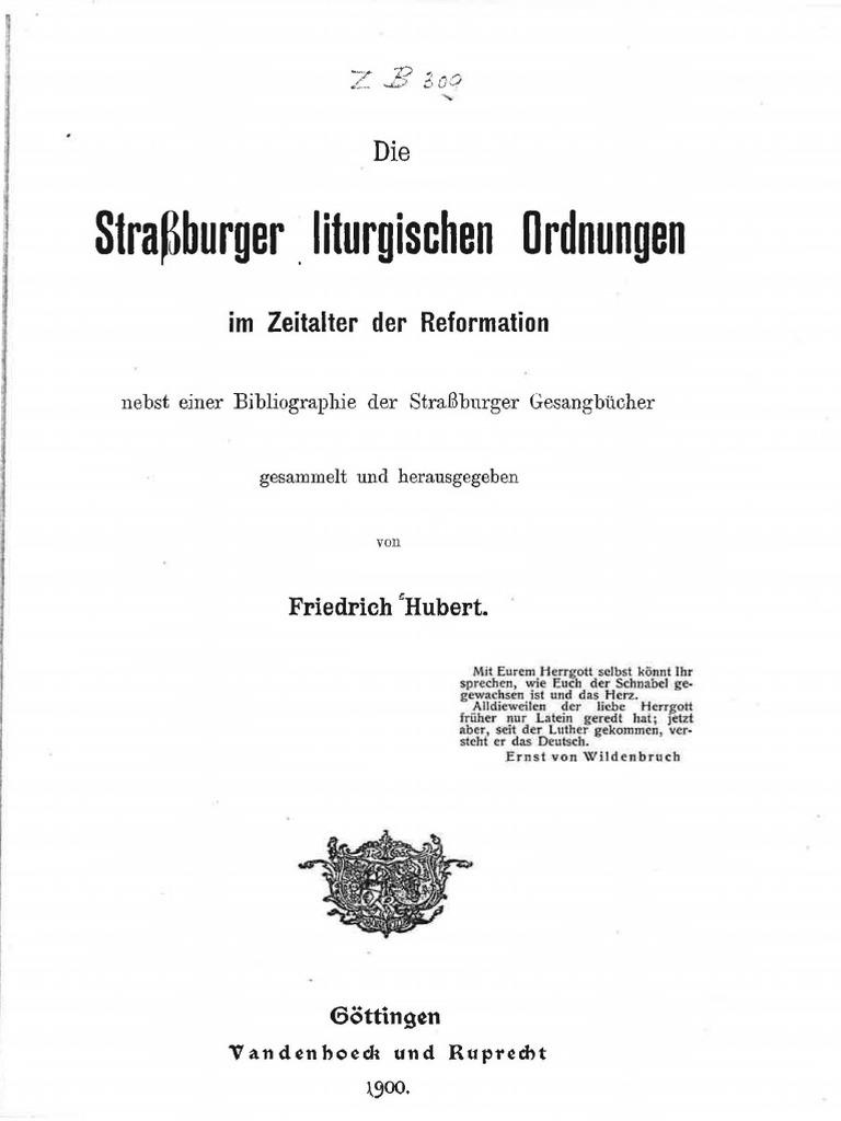 Hubert, Friedrich (Hg.): Die Straßburger Liturgische Ordnungen im ...