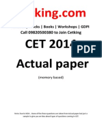 CETking MBA CET 2014 Question Paper With Solution