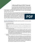 Microsoft Office Excel 2013 Tutorial