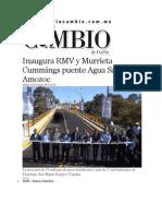 09-12-2014 Diario Matutino Cambio de Puebla - Inaugura RMV y Murrieta Cummings Puente Agua Santa en Amozoc
