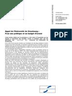 Appel Strasbourg Pour Politique Budget Avenir