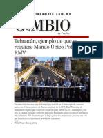 09-12-2014 Diario Matutino Cambio de Puebla - Tehuacán, Ejemplo de Que Se Requiere Mando Único Policial, RMV