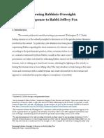Rabbi Josh Yuter - Reviewing Rabbinic Oversight a Response to Rabbi Jeffrey Fox