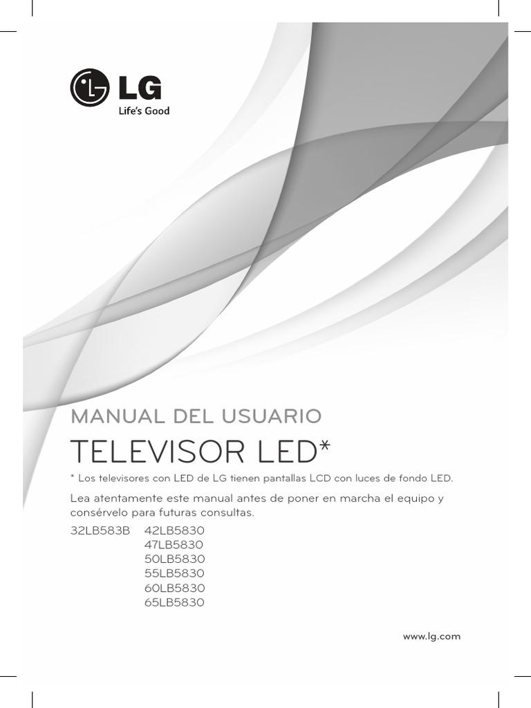 manual de usuario lg televisor led 32lb583b 42lb5830 47lb5830 rh scribd com manual de instrucciones televisor lg 32ln540b manual de instrucciones televisor lg 42lm620s