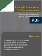Designing Reusable Frameworks for Test Automation